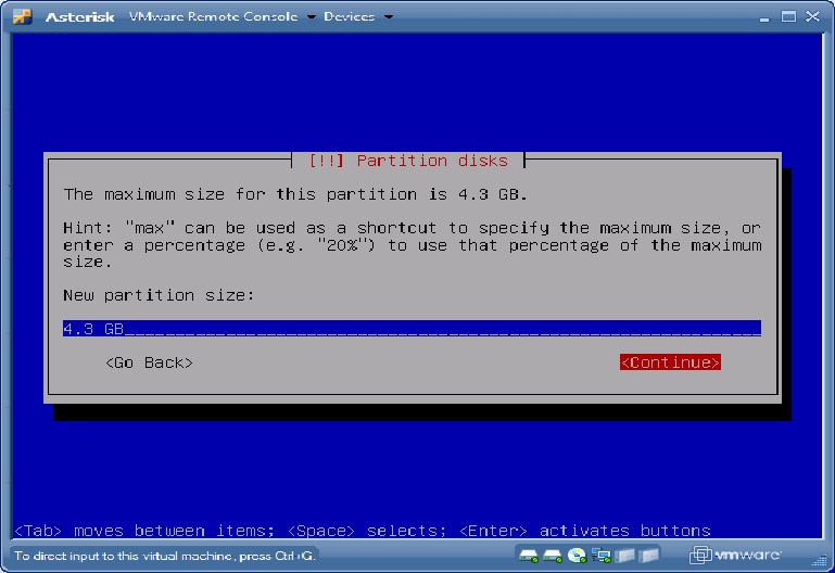 Debian Partition disks hda swap Continue