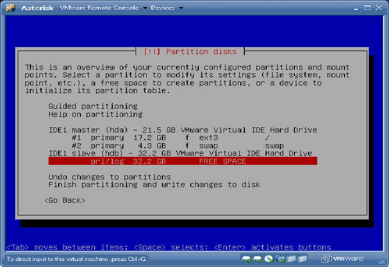 Debian Partition disks hdb FREE SPACE