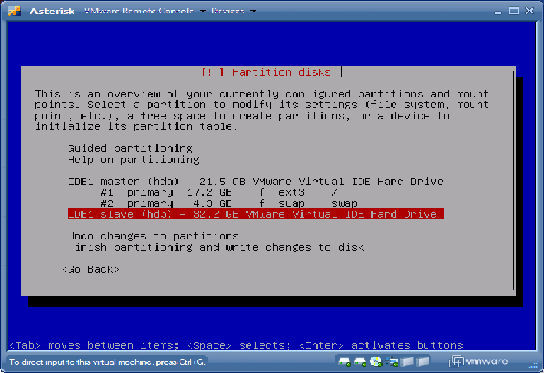 Debian Partition disks hdb